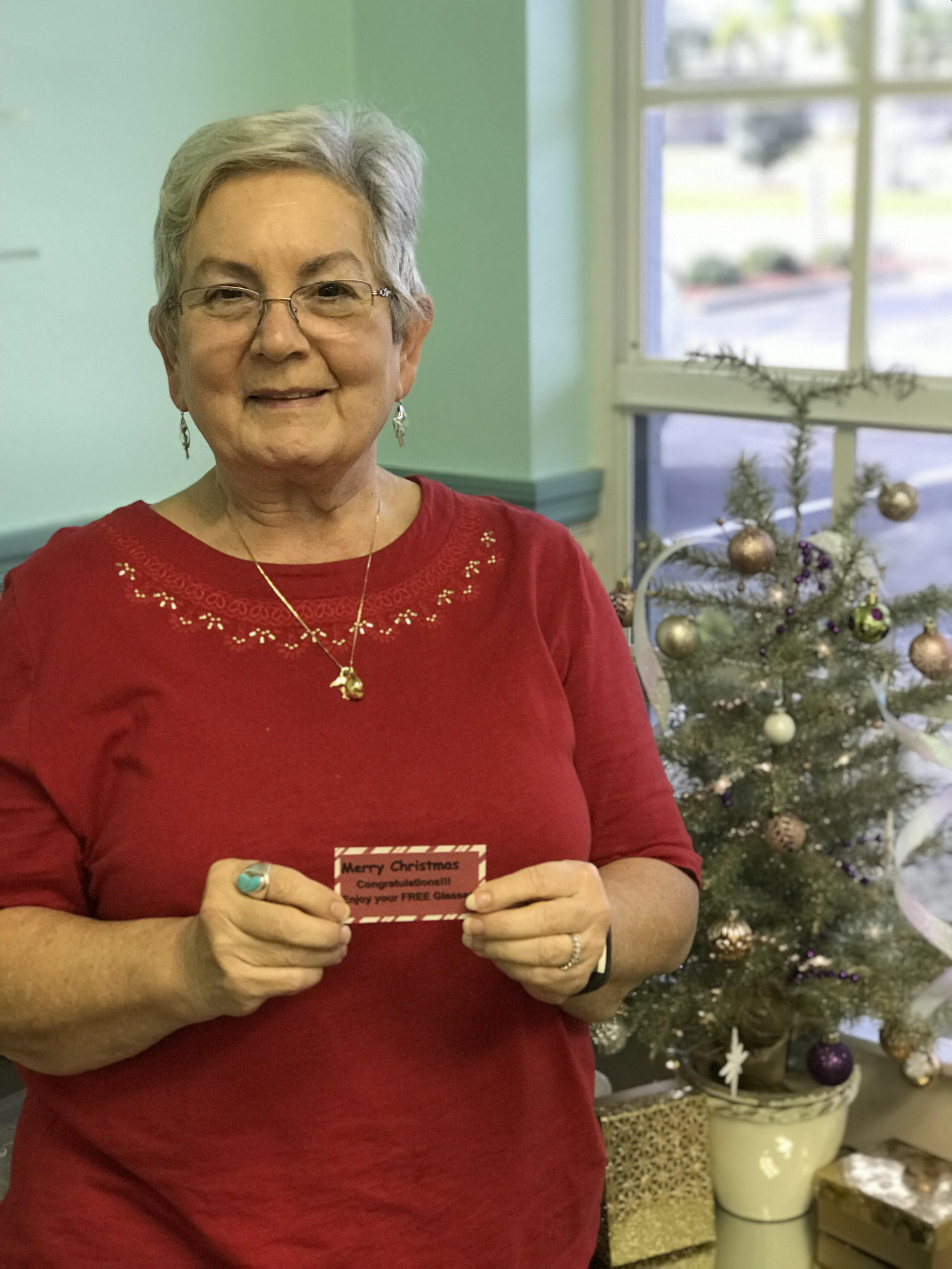 Mrs. A won FREE glasses during the 2018 Bucci Eye Care Christmas Promotion